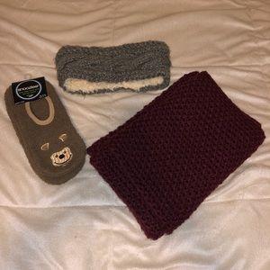 winter essentials! Scarf, fuzzy socks, & headband